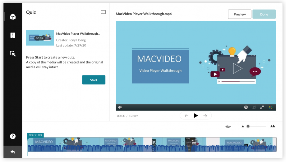 video quiz edit window